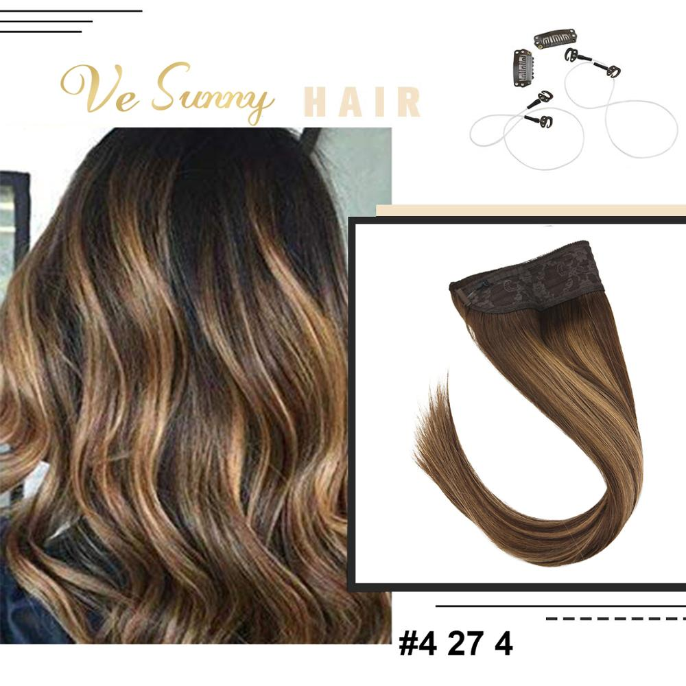 VeSunny Invisible Halo Hair Extensions 100% Real Human Hair Wire With Clips Balayage Highlights Brown Mix Caramel Blonde #4/27/4