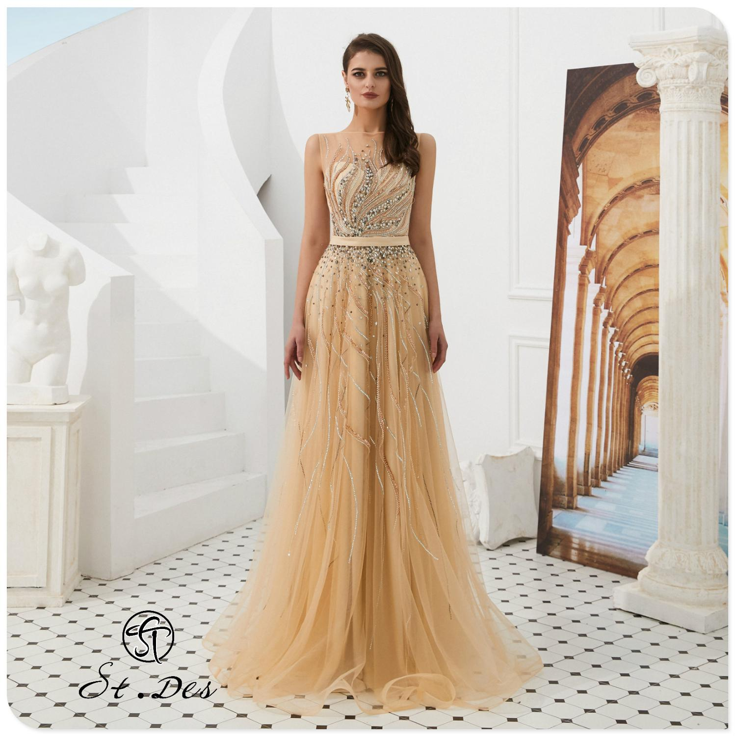 NEW 2020 St.Des A-line Round Neck Russian Champagne Beading Sleeveless Designer Floor Length Evening Dress Party Dress