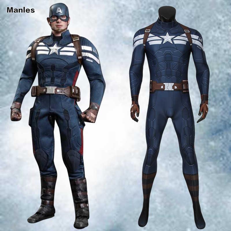 Captain America le soldat d'hiver déguisement le capitaine Cosplay Steve Rogers Avengers adulte Halloween combinaison 4D Zentai mâle
