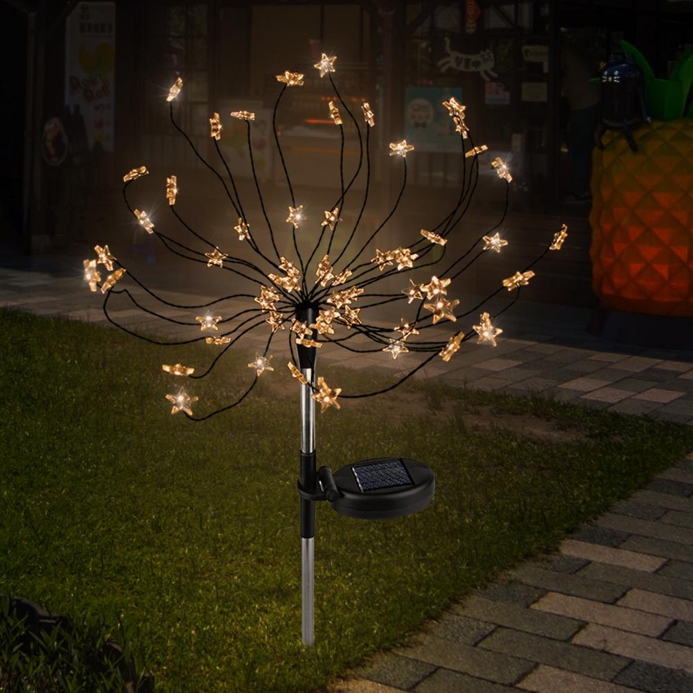 Solar Energy Warm White/White Star Fairy Bouquet Dandelion Lights Star Solar Fairy Light Creative Outdoor Decoration New Year