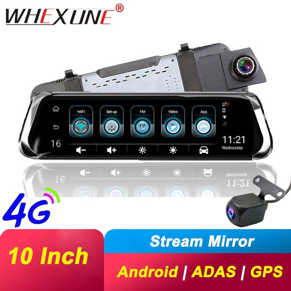 WHEXUNE 10 дюймов Автомобильное зеркало заднего вида DVR 4G ADAS Android gps навигация видеорегистратор Двойной объектив FHD 1080P автомобильная видеокамера...