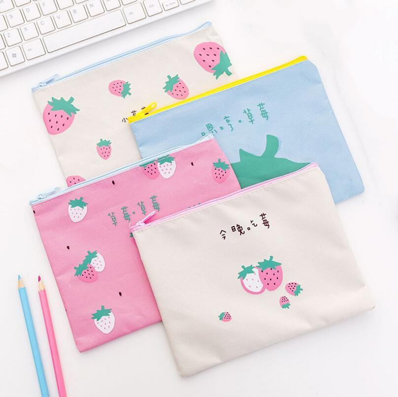 1 Pcs Cotton Fabric Paper Holder School Folder Bag School Stationery