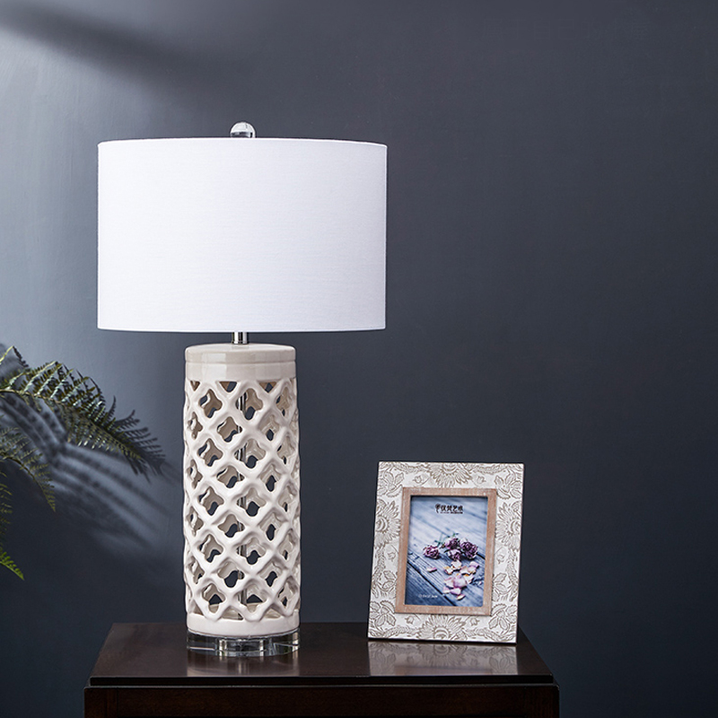 Modern Rhombus Hollow White <font><b>Ceramic</b></font> <font><b>Table</b></font> <font><b>Lamp</b></font> Bedroom Bedside <font><b>Lamp</b></font> Creative Crystal <font><b>Base</b></font> Artist Living Room Decor Wedding <font><b>Lamp</b></font> image
