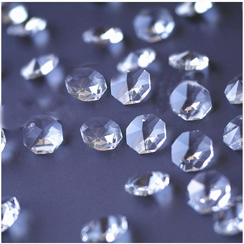 Высокое качество 20 шт./лот многоцветный 14 мм хрустальные Восьмиугольные бусины в одном отверстии K9 кристаллы части для люстры аксессуары DIY Свадебные и x-дерево украшения - Цвет: Clear