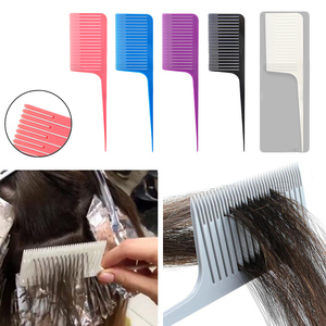 Professional Plastic One-way Weave Highlighting Foiling Hair Comb Salon Tool Hair Dye Comb Sectioning Highlight Comb Edge Brush(China)