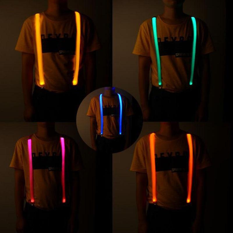 Flashing Blinking LED Suspenders Men Clips-on Braces  Mens Running Riding Suspender For Trousers Male Christmas
