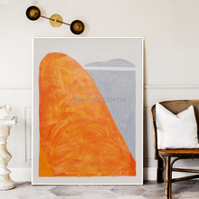 Hand painted Abstract Bright Orange Color Oil Paintings Modern Grey Canvas Painting Wall Art for Living Room home Decoration
