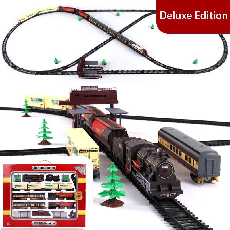 Elektrische Zug Modell Spielzeugeisenbahn Lokomotive Spielzeug mit Licht und