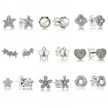 Dazzling Daisy Clusters White Orchid 925 Sterling Silver Ear