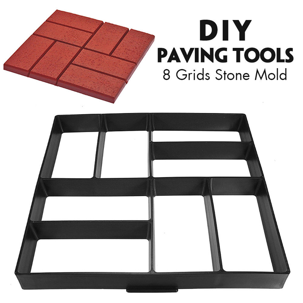 Garden DIY Plastic Path Maker Pavement Model Concrete Stepping Stone Cement Mould Brick OCT998