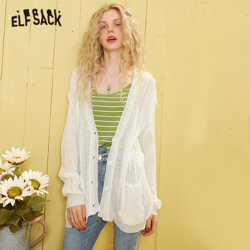 ELFSACK White Solid Minimalist Mohair Knit Casual Cardigan Women Sweaters 2020 Spring Single Button Long Sleeve Korean Girly Top
