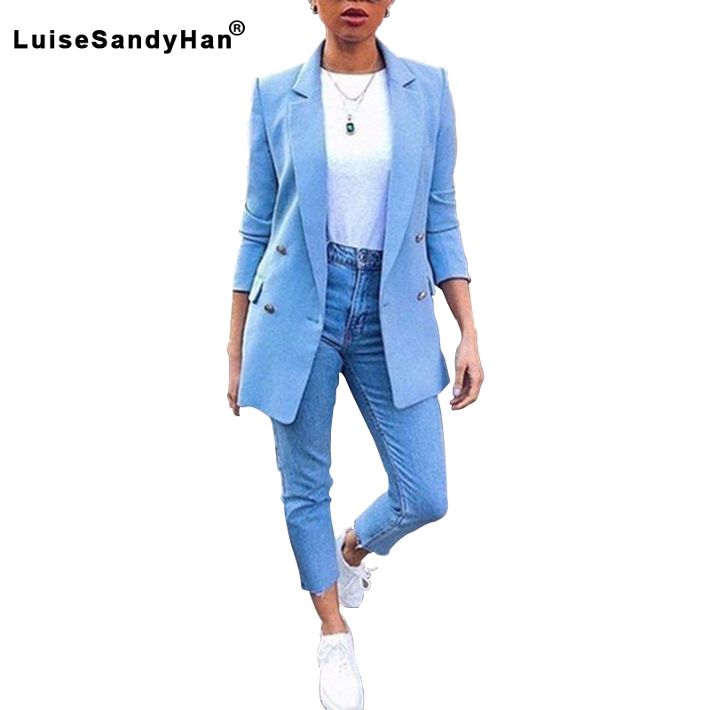 Synthetics Thin Spring Autumn Cardigan Mid-length Suits Women's Double Breasted Elegant Solid Long-sleeved Blazer Female 2020