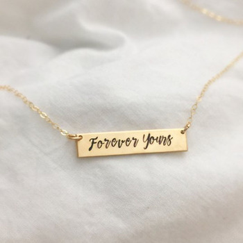 Carved Metal Stainless Steel Cutout Necklace Gold Jewels Customized Personalized Name Letters Special Jewelry Bridesmaid Gifts