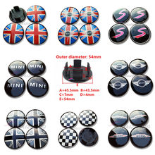 4x54mm Mini WORKS S coloré angleterre drapeau voiture roue Center moyeu capuchon Logo roue Center capuchon Badge moyeu couverture emblème jante Center casquettes(China)