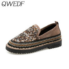 2019 New Slides Women casual Shoes Sequined Cloth Loafers Flat Heel Shoes Lazy Women Fashion Moccasin Women Flats Shoes U7-21(China)