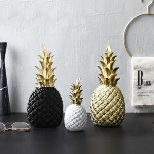 Home Decoration Room Accessory Nordic Modern Pineapple Ornaments Synthetic Resin Individual Metal Finishes Living Room Desktop