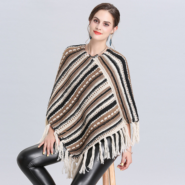 Autumn and winter new Women Loose tassel Poncho cloak shawl V-neck oblique striped pullover Knitted pullover female 2