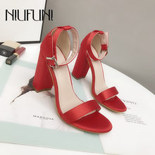 New Arrival Peep Toe Sexy PU Leather Solid Womens Sandals Belt Buckle Thick High Heels Women Casual Shoes Sandalias De Mujer