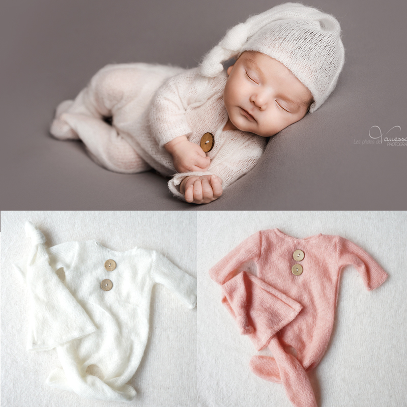 Jumpsuits Baby Clothes Mohair Newborn Photography Props Boy Hats Souvenir Indoor DIY Photo Studio Accessories Unique Pictures