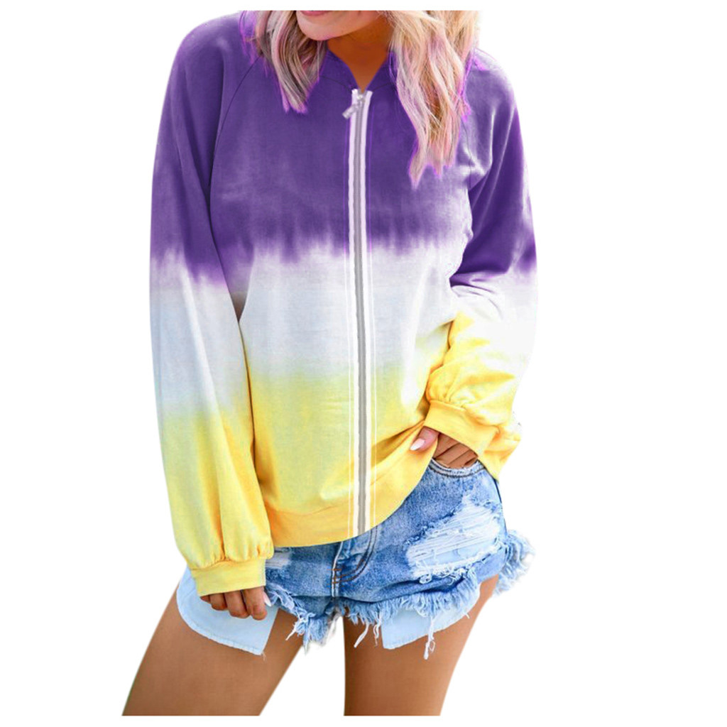 New Fashion Jacket For Women Zipper Up Long Sleeve Print Gradient Sport Jacket Loose Ladies Pockets Sports Top Blouse Clothing