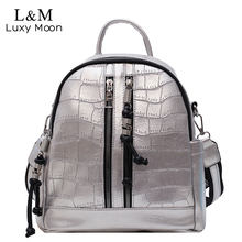 Fashion Women Backpack School Bag for Teenager Girls College Shoulder Bag Alligator Leather Casual Back pack Mochila New XA505H(China)