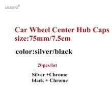 20 ピース/ロット 75 ミリメートルブラック/シルバー、車のホイールのセンターキャップホイールハブリムキャップカバー車のアクセサリー