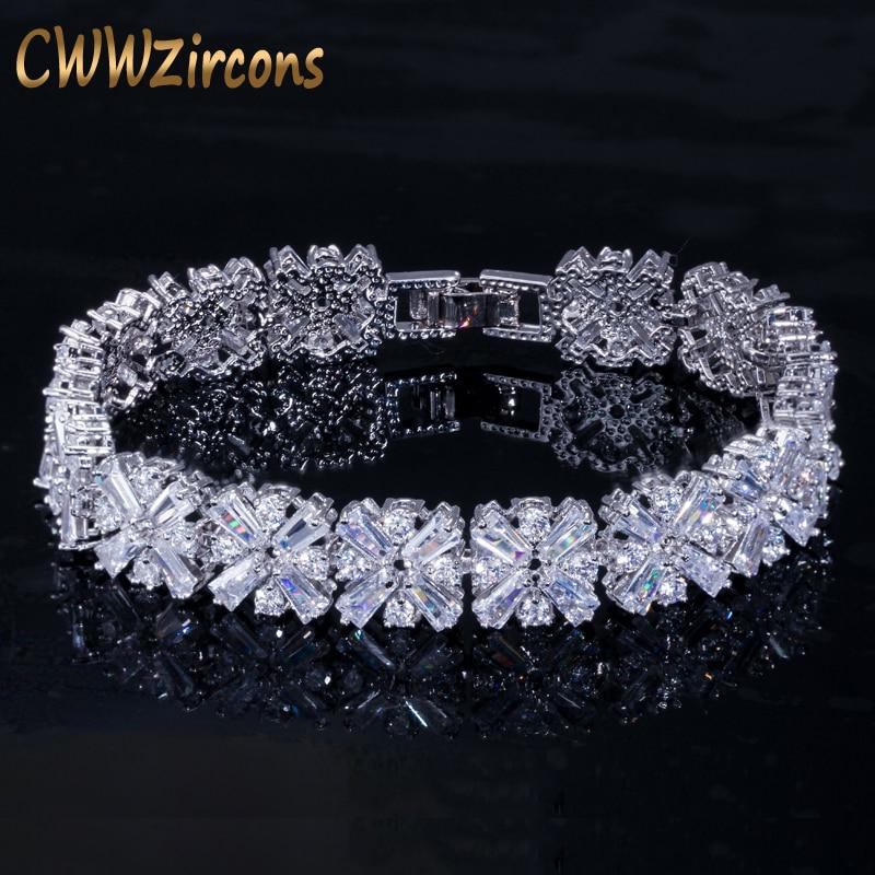 Cwwzircons feminino moda jóias lindo prata cor primavera flor zircônia cúbico conectado tênis pulseira para o casamento cb010