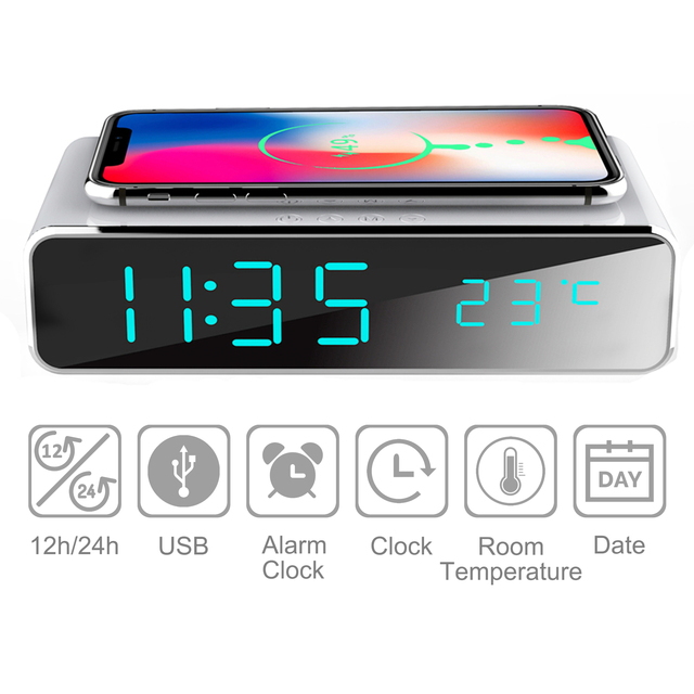 Electric LED alarm clock with phone wireless charger Desktop digital thermometer clock HD mirror clock with date 12/24 h switch 2