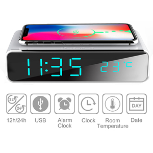 Image 2 - Electric LED alarm clock with phone wireless charger Desktop digital thermometer clock HD mirror clock with date 12/24 h switch