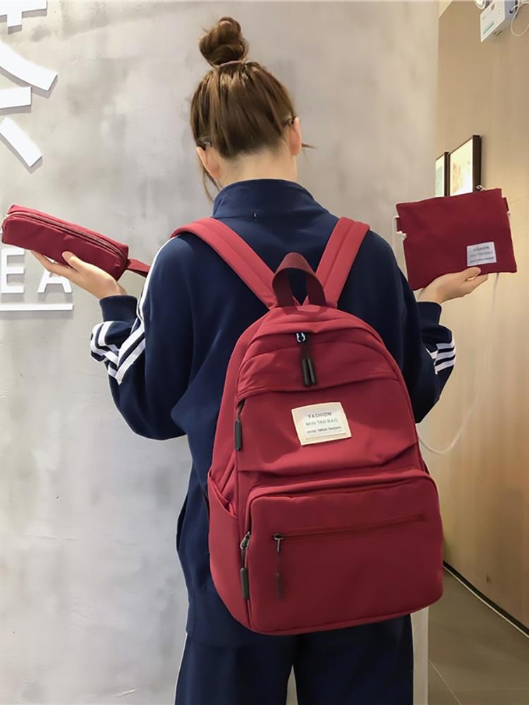 School-Bags Student Backpack Teenage Travel Girls Kids Children for New Women 3set