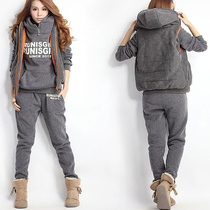 3PCS Running Sets Womens Hoodies Warm Women Letter Tracksuit Set Thicken Sweat Tops Pants Suit Plus Velvet Thick Clothing