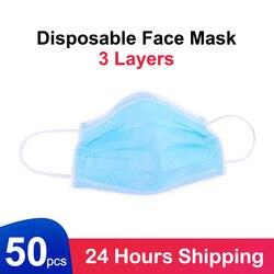Máscaras protectoras desechables, máscara facial de 3 capas Anti nCoV/PM2.5/máscara antipolvo de 50 Uds.