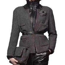 Модное пальто, зимняя/осенняя одежда, Женская шерстяная куртка/костюм/куртки, короткие женские жакеты Vadim, шелковая подкладка для женщин