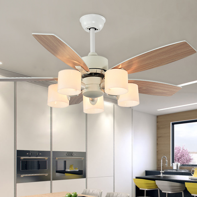 52Inch Wooden Ceiling Fan Wood with Hand rope switch  Ceiling Fans With Light White Fan Energy Saving Ventilador De Techo