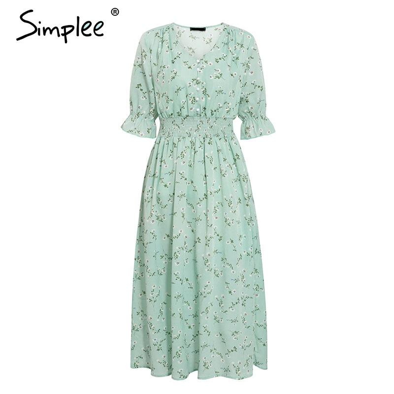 Simplee Women floral print dress Elegant women puff sleeve a line v neck sash dress High