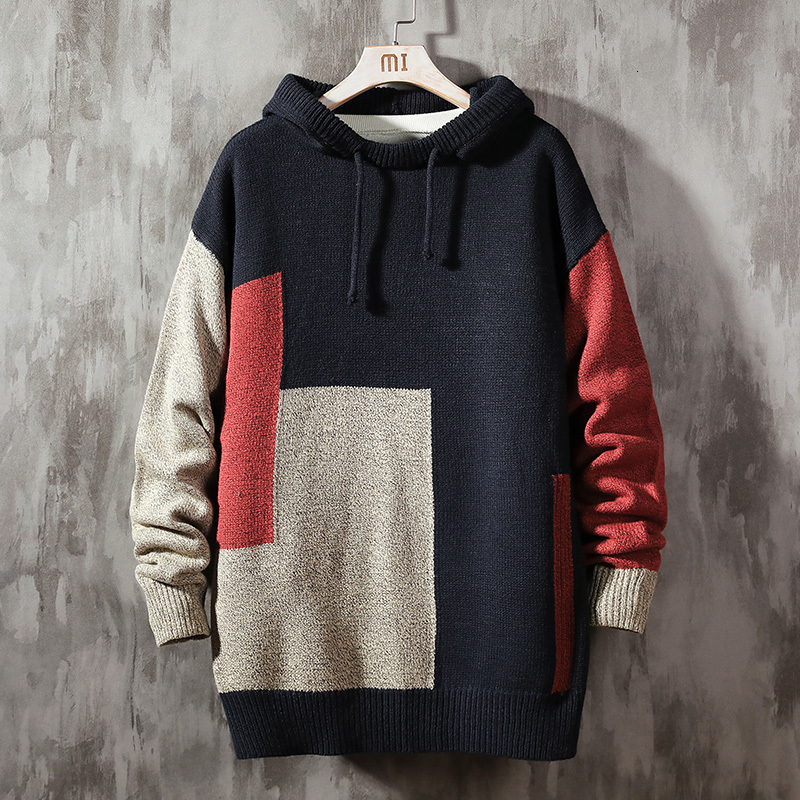 2020 Autumn Japanese Hooded Print Geometric Pattern Pullover Temperament Casual Large Size Trend Men's Sweaters Mens Homme