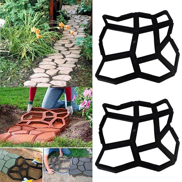 Moule à pavé plastique de jardin 2 pièces   Pour jardin, marche chemin, pierres décoratives de Patio-35x35cm