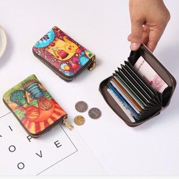1pc Pu Card Holder Leather Credit Card Holder Women Zipper Pocket Card Case Zipper Coin Purse pu card case
