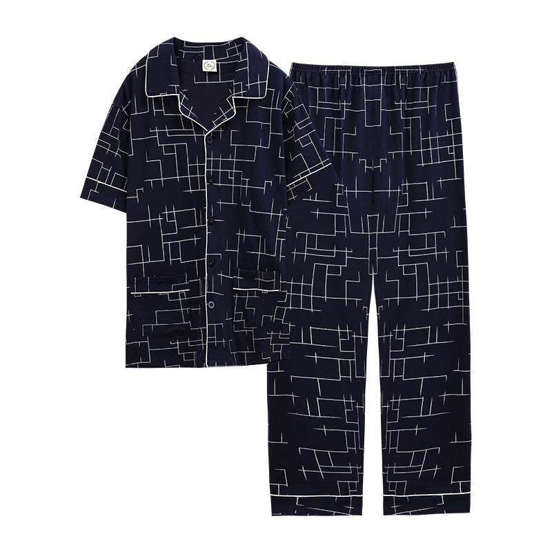 Turn Down Collar Chinese Pajamas Men Pijamas Sleepwear Homesuit Homeclothes Fashion Style Short Sleeve Long Pants Pajamas Set