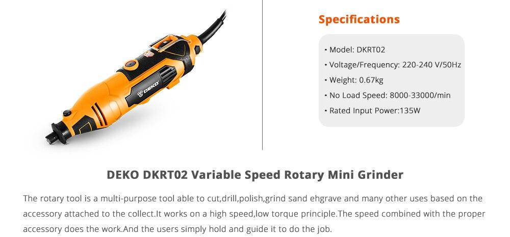 Mini amoladora rotativa DEKO DKRT02 220V velocidad variable con Kit de corte de perforación y pulido