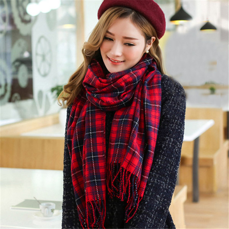 2019 Women's Winter Stole Plaid   Scarves   Tippet   Wraps   Ladies Wool   Scarf   Women Classic Neckerchief Shawls foulard femme