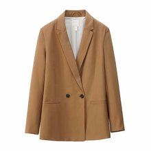 Women Elegant 4 Color Blazer Double Breasted Notched Collar Long Sleeve Outerwea