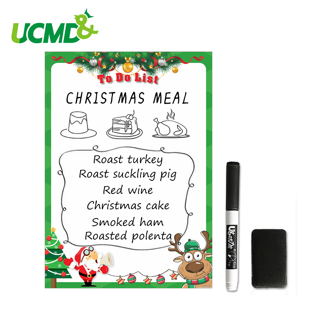 A4 Dry Wipe Whiteboard With Marker Pen Eraser Magnetic Drawing Writing Remind Memo Record Boards Christmas Decor Fridge Magnets