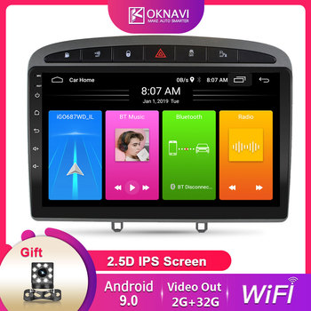 OKNAVI 9'' Android 9.0 Car Player GPS Navigation For Peugeot 408 for Peugeot 308 308SW 2010-2016 Radio Stereo Head Unit No DVD image