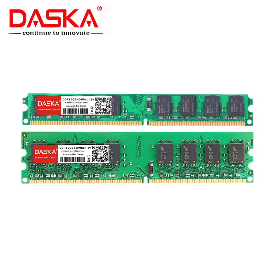 DASKA 4G <font><b>4GB</b></font>(2GBX2pcs) <font><b>DDR2</b></font> pc2 6400 800Mhz For Desktop PC pc2-6400 <font><b>ddr2</b></font> 667 MHZ (For intel amd) High Compatible image