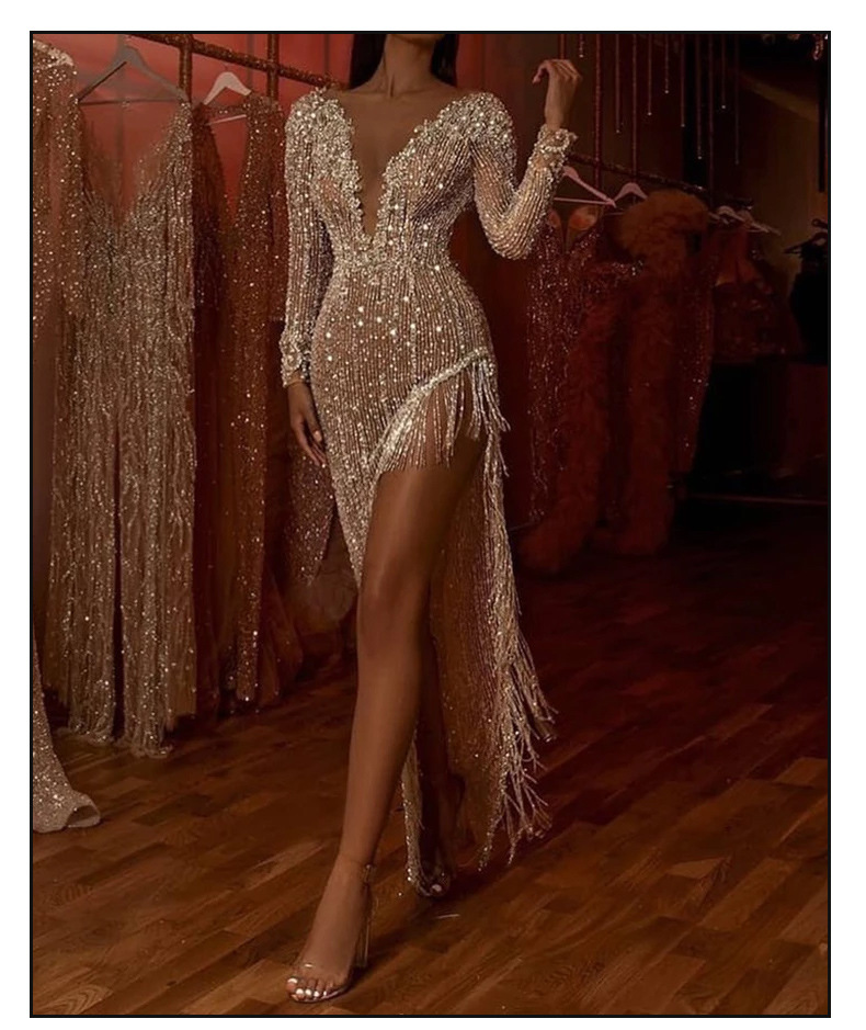 Robe asymétrique sexy à manches longues