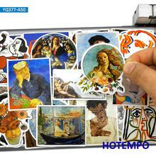 50 шт. картина маслом стильная Художественная Картина Ван Гога стикеры s игрушки для ноутбука чемодан чехол скейтборд Автомобильная наклейк...