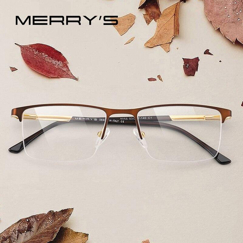 MERRYS DESIGN Men Glasses Frame Male Square Half Optical Ultralight Business Style Myopia Prescription Alloy Eyeglasses S2055