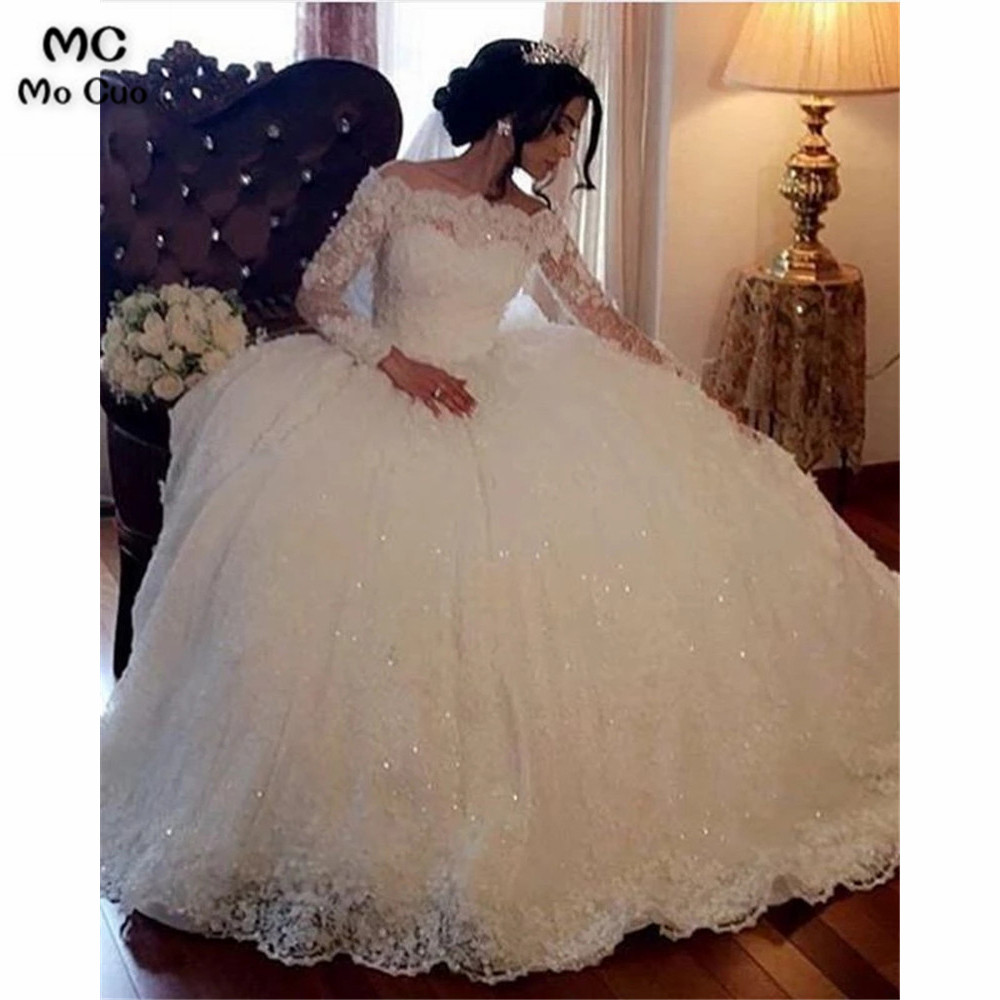 Ball Gown Off Shoulder Wedding Dress For Bride Long Sleeve Lace Bridal Dresses Bride Gown Puffy Wedding Dresses