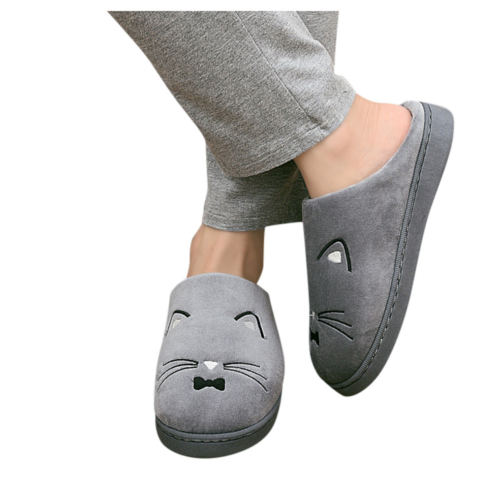 Home Shoes Men Slippers Home Slippers Women's Mens Couples Warm Cartoon Cat Non-slip Floor Home Slippers Indoor Shoes Chinelo